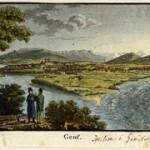 Une lithographie (XVIIIe-XIXe siècle) représentant la jonction du Rhône et de l'Arve.