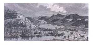 """Cette planche du """"Voyage pittoresque de France"""" représente le grand lac de Luc. Outre les pêcheurs dans leur barque (au fond), on peut y voir, sur un îlot au centre, deux hommes occupés à chasser le canard. Collection Musée dauphinois."""