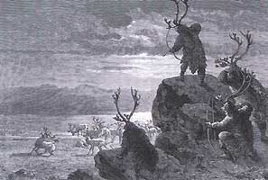 Une chasse au renne, gravure d'Emile Bayard.