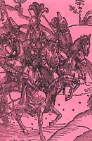 """Djem et son escorte après son arrivée en France. Gravure sur bois illustrant l'édition incunable du manuscrit de Guillaume Caoursin (Ulm, 1496), dont la légende indique : """"Zizim chevauchant avec quelques Turcs""""."""