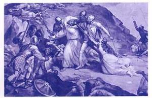 Ce dessin, exécuté d'après la fresque qui orne l'église de Trivero, près de Biella, rappelle l'arrestation de Dolcino et de sa compagne Margherita par les troupes épiscopales le Jeudi saint 1307.
